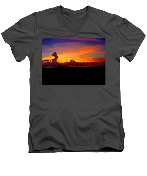 Key West Sun Set Men's V-Neck T-Shirt by Iconic Images Art Gallery David Pucciarelli