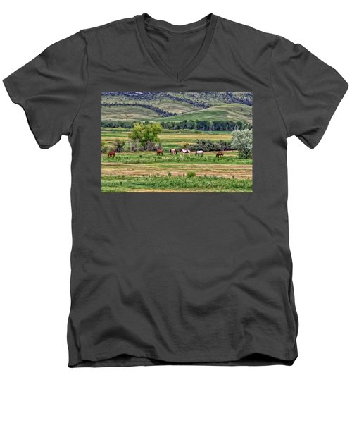K G Ranch Men's V-Neck T-Shirt by Michael Pickett