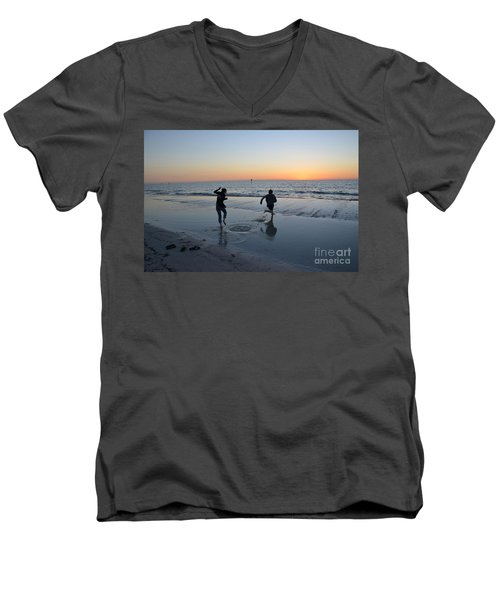 Men's V-Neck T-Shirt featuring the photograph Kids At The Beach by Robert Meanor