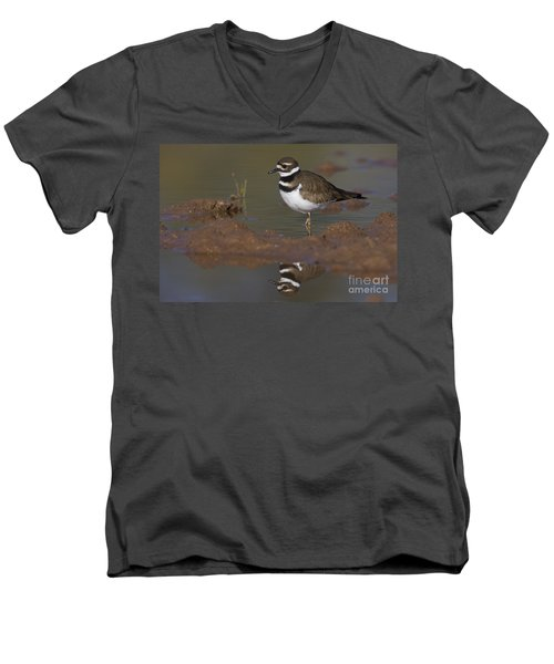 Men's V-Neck T-Shirt featuring the photograph Killdeer Reflection by Bryan Keil