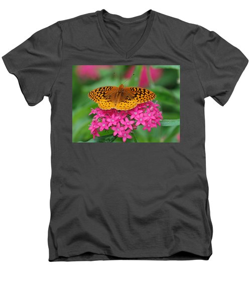 Men's V-Neck T-Shirt featuring the photograph Kim's Bosom Buddies Support by Richard Bryce and Family
