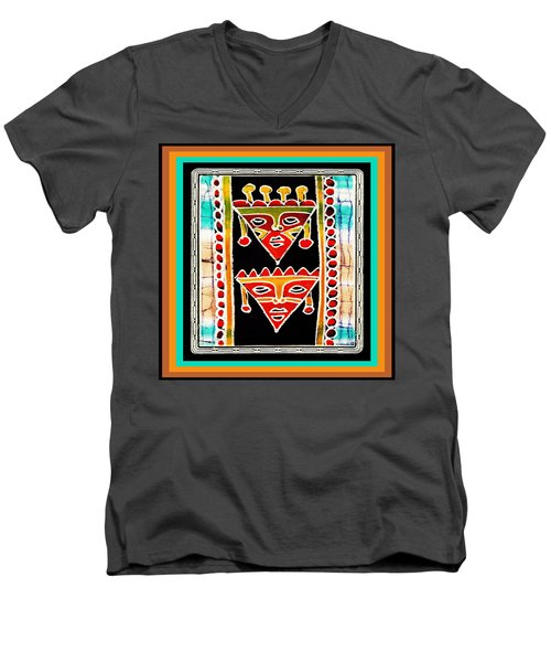 Men's V-Neck T-Shirt featuring the digital art King And Queen by Vagabond Folk Art - Virginia Vivier