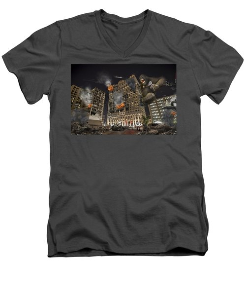 Men's V-Neck T-Shirt featuring the photograph King Kong In Detroit Westin Hotel by Nicholas  Grunas