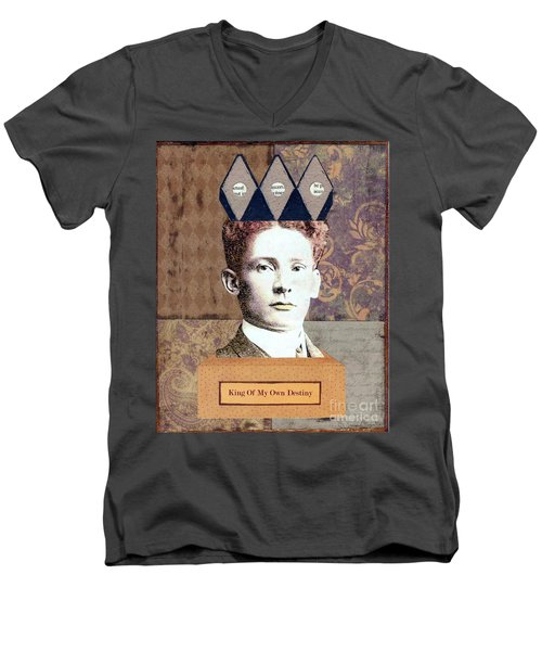 Men's V-Neck T-Shirt featuring the mixed media King Of My Own Destiny by Desiree Paquette