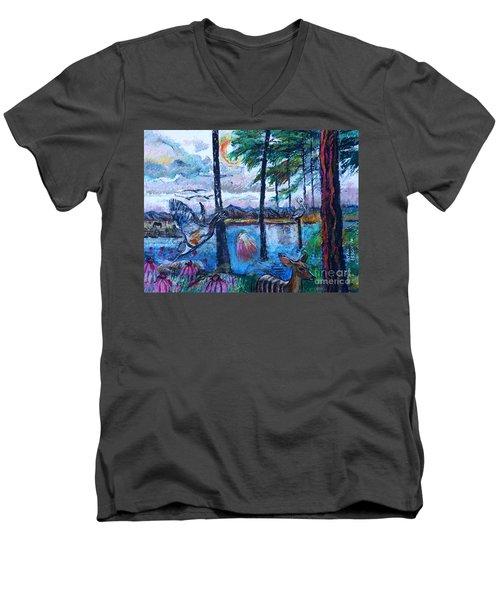 Kingfisher And Deer In Landscape Men's V-Neck T-Shirt