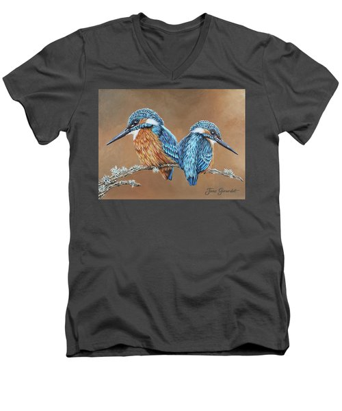 Men's V-Neck T-Shirt featuring the painting Kingfishers by Jane Girardot