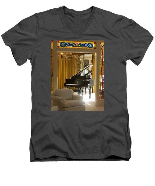 Kings Piano Men's V-Neck T-Shirt by Jewels Blake Hamrick