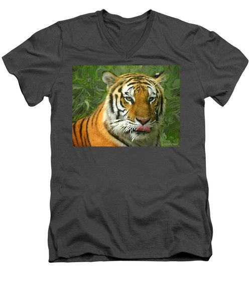 Men's V-Neck T-Shirt featuring the photograph Kisa Painted by Sandi OReilly