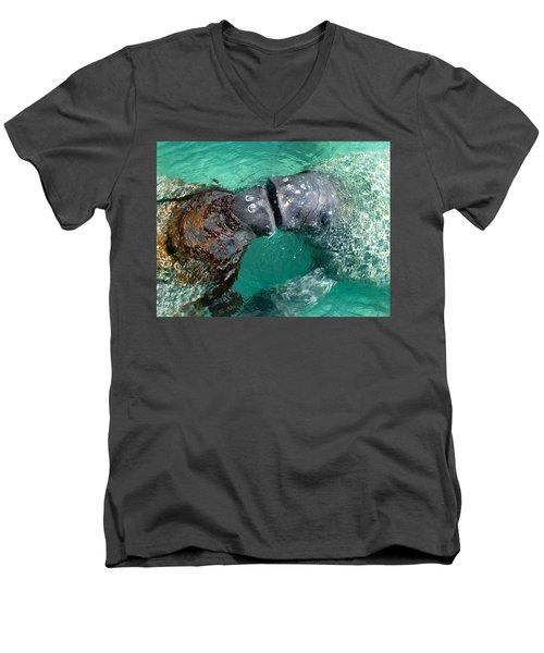 Kissing Manatees Near Harbour Island Men's V-Neck T-Shirt
