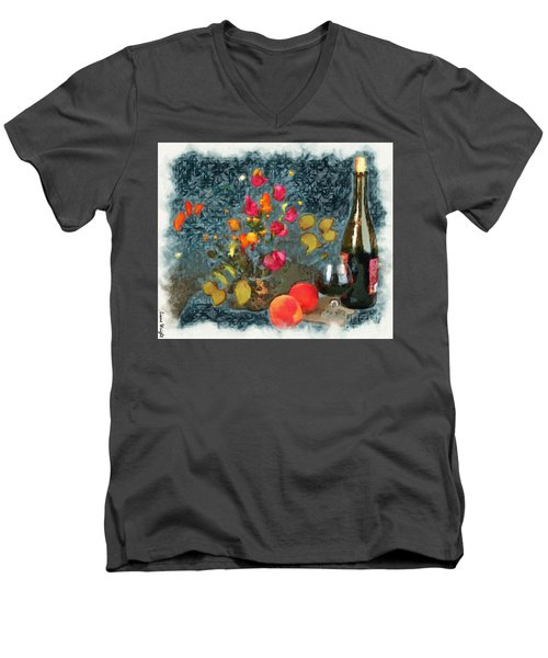 Kitchen - Peaches And Wine Painting  Men's V-Neck T-Shirt by Liane Wright