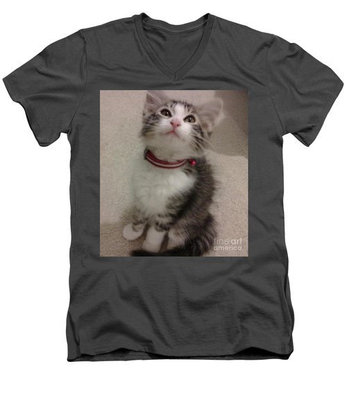 Men's V-Neck T-Shirt featuring the photograph Kitty - Forgotten Innocence by Barbara Yearty