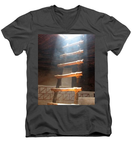Men's V-Neck T-Shirt featuring the photograph Kiva Ladder by Marcia Socolik