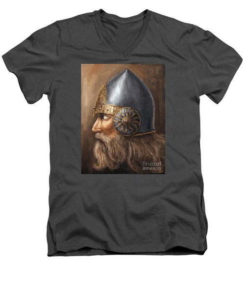 Men's V-Neck T-Shirt featuring the painting Knight by Arturas Slapsys