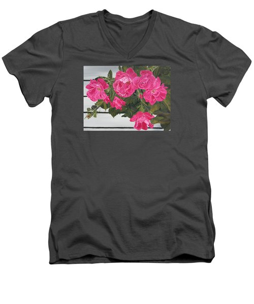 Men's V-Neck T-Shirt featuring the painting Knock Out Roses by Wendy Shoults