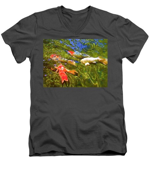 Men's V-Neck T-Shirt featuring the photograph Koi 1 by Pamela Cooper