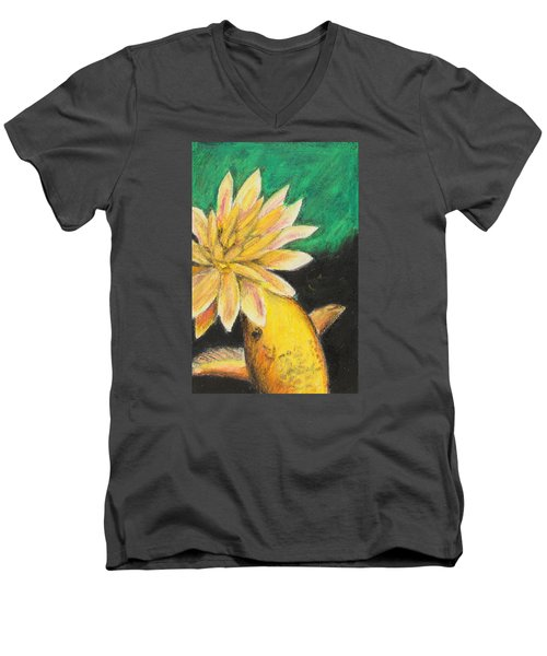 Men's V-Neck T-Shirt featuring the painting Koi And The Lotus Flower by Jeanne Fischer