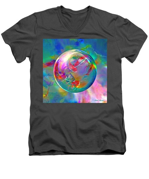 Men's V-Neck T-Shirt featuring the digital art Koi Pond In The Round by Robin Moline