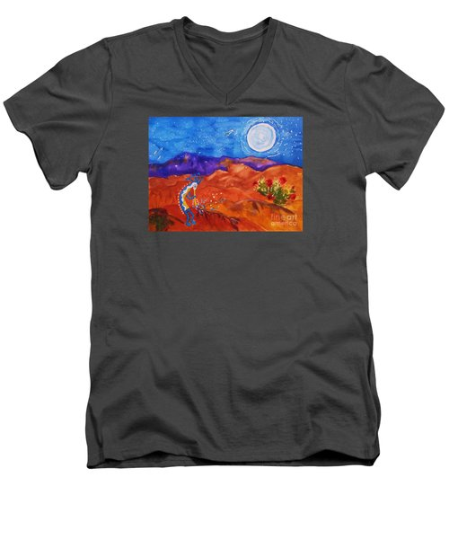 Kokopelli Playing To The Moon Men's V-Neck T-Shirt by Ellen Levinson
