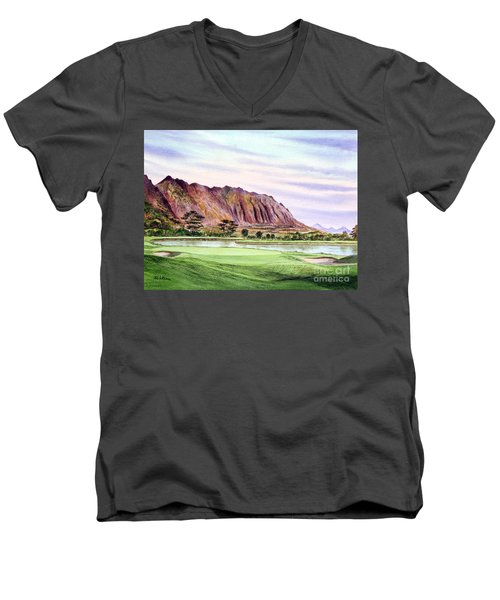 Men's V-Neck T-Shirt featuring the painting Koolau Golf Course Hawaii 16th Hole by Bill Holkham