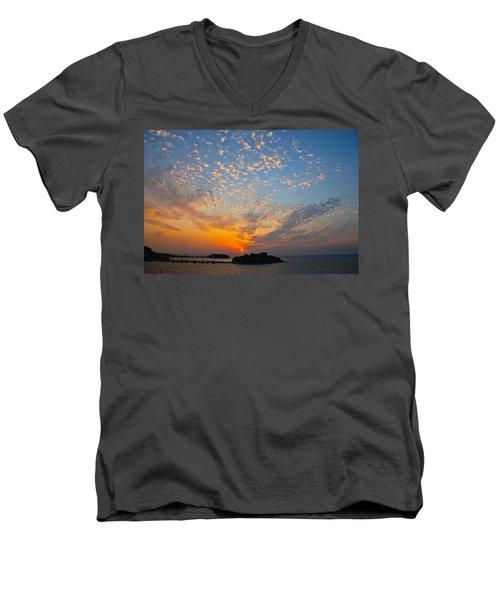 Kusadasi Sunset Men's V-Neck T-Shirt by Eric Tressler