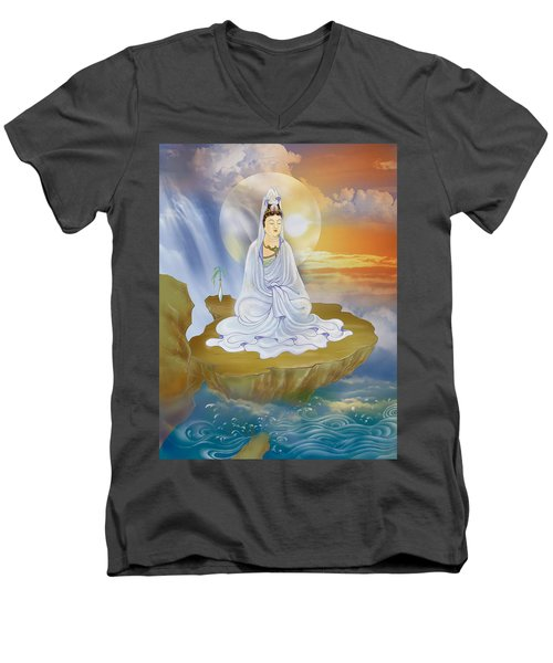 Kwan Yin - Goddess Of Compassion Men's V-Neck T-Shirt by Lanjee Chee