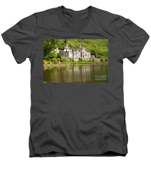 Men's V-Neck T-Shirt featuring the photograph Kylemore Abbey 2 by Mary Carol Story