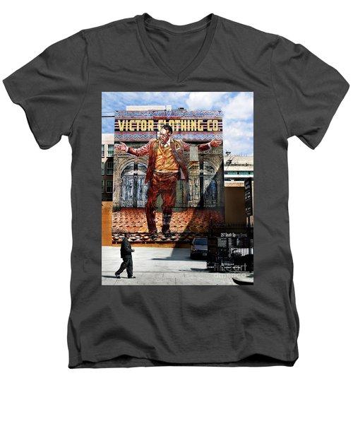 Men's V-Neck T-Shirt featuring the photograph L A  City Beat by Jennie Breeze