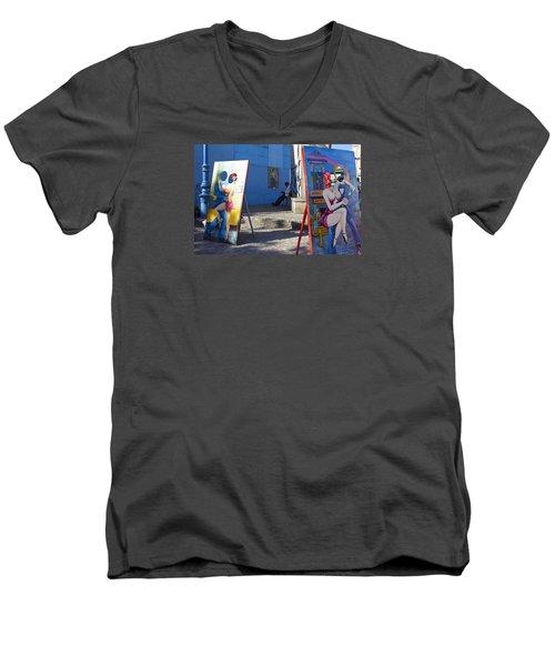 La Boca Blue Men's V-Neck T-Shirt
