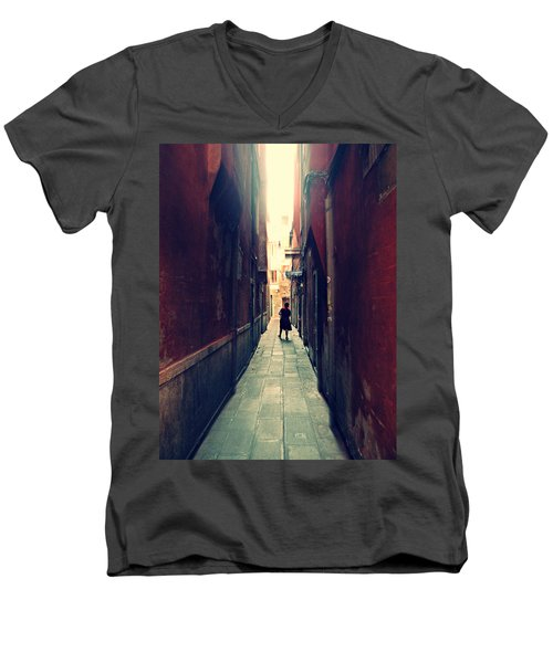 Men's V-Neck T-Shirt featuring the photograph La Cameriera  by Micki Findlay