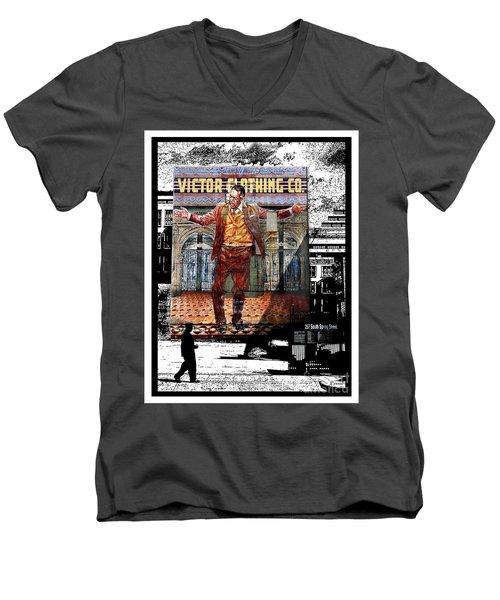 Men's V-Neck T-Shirt featuring the digital art La City Beat Digitized by Jennie Breeze