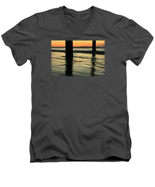 Men's V-Neck T-Shirt featuring the photograph La Jolla Shores Sunset by John F Tsumas