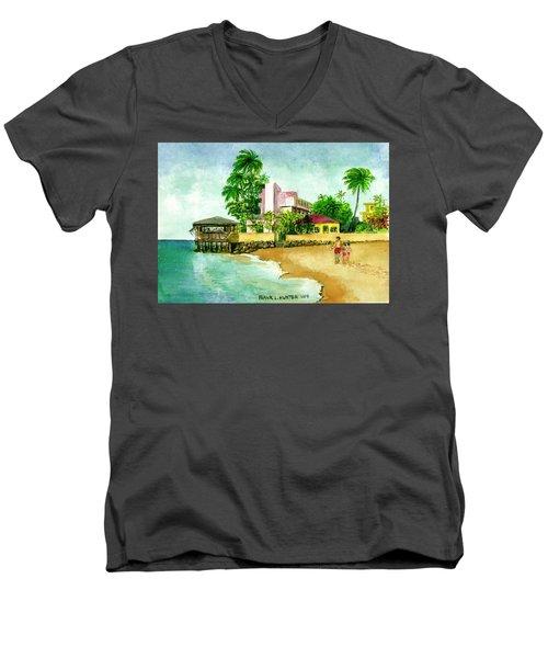 La Playa Hotel Isla Verde Puerto Rico Men's V-Neck T-Shirt by Frank Hunter