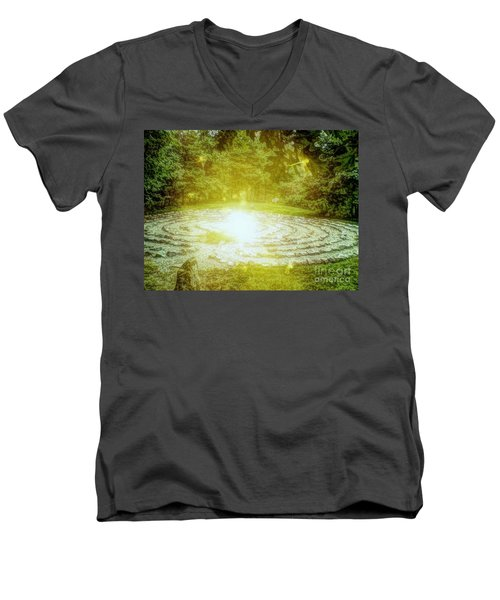 Labyrinth Myth And Mystical Men's V-Neck T-Shirt by Becky Lupe