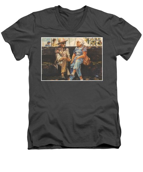 Men's V-Neck T-Shirt featuring the painting Ladies Of Washington Square by Walter Casaravilla