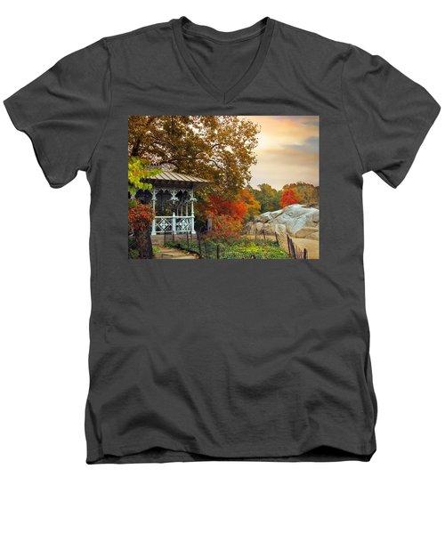 Ladies Pavilion In Autumn Men's V-Neck T-Shirt