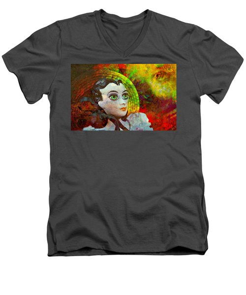 Men's V-Neck T-Shirt featuring the mixed media Lady In Red by Ally  White
