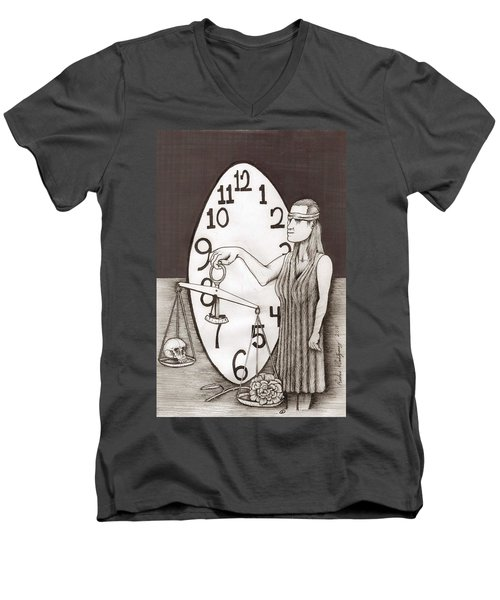 Lady Justice And The Handless Clock Men's V-Neck T-Shirt