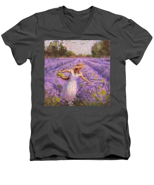 Woman Picking Lavender In A Field In A White Dress - Lady Lavender - Plein Air Painting Men's V-Neck T-Shirt by Karen Whitworth