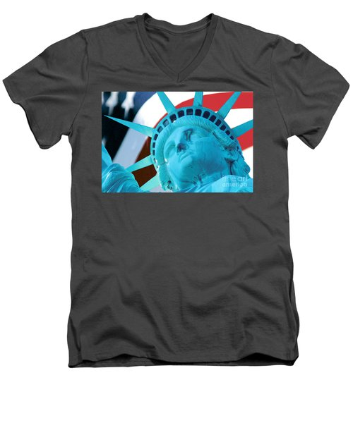 Men's V-Neck T-Shirt featuring the photograph Lady Liberty  by Jerry Fornarotto