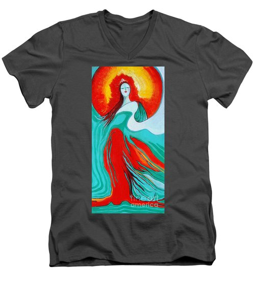 Lady Of Two Worlds Men's V-Neck T-Shirt by Alison Caltrider
