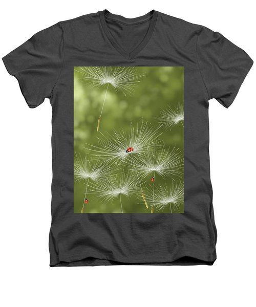 Ladybug Men's V-Neck T-Shirt by Veronica Minozzi
