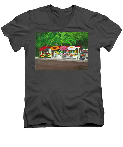 Laguna Beach Flower Stand Men's V-Neck T-Shirt by Mike Robles