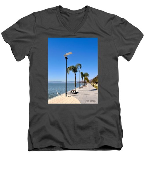 Men's V-Neck T-Shirt featuring the photograph Lake Chapala - Mexico by David Perry Lawrence