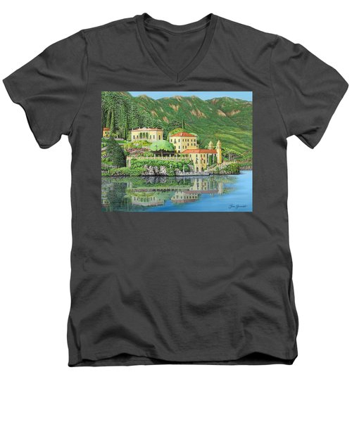 Lake Como Morning Men's V-Neck T-Shirt by Jane Girardot