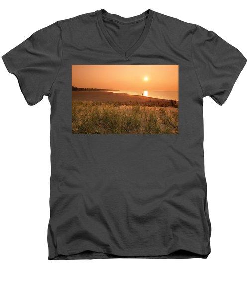 Lake Erie Sunset Men's V-Neck T-Shirt by Garry McMichael