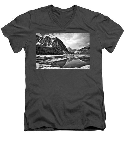 Lake Louise - Black And White #3 Men's V-Neck T-Shirt