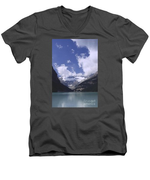 Men's V-Neck T-Shirt featuring the photograph Lake Louise Canada by Rudi Prott