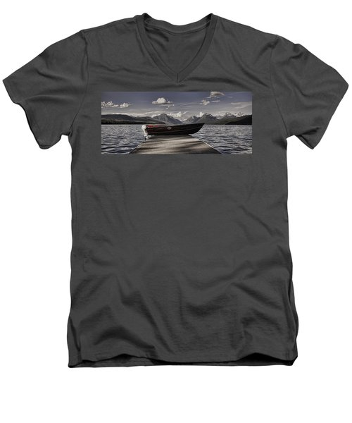 Men's V-Neck T-Shirt featuring the photograph Lake Mcdonald by Ellen Heaverlo