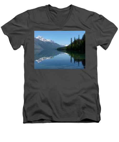 Lake Mcdonald - Glacier National Park Men's V-Neck T-Shirt by Lucinda Walter