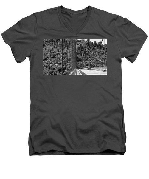Lake Oroville Bridge Black And White Men's V-Neck T-Shirt